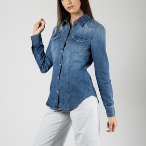 Anthro Sanctuary Chambray Button Down Long Sleeve